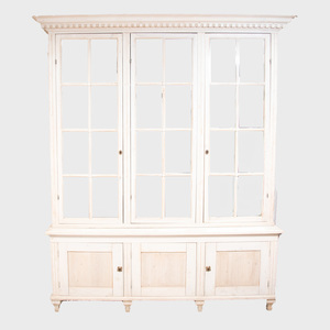 Swedish Neoclassical Style White Painted Cabinet with a Triple Glazed Upper Section