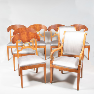 Assembled Set of Eight Russian Neoclassical Style Mahogany and Parcel-Gilt Dining Chairs