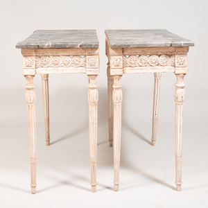 Pair of Italian Neoclassical Style Painted Consoles with Faux Marble Tops