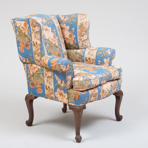 George III Style Carved Mahogany Wing Armchair