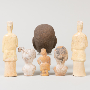 Group of Chinese Pottery Figures and a Carved Stone Head Fragment of Buddha