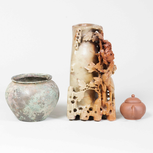 Chinese Soapstone Carved Vase, a Yixing Teapot, and a Bronze Vase