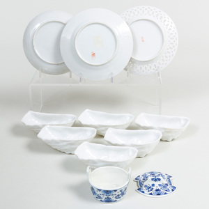 Three Chinese Export Porcelain Saucers and a Set of Six White Porcelain Oyster Dishes