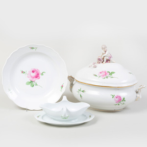 Meissen Porcelain Tureen and Cover, a Sauce Boat on Stand, and a Circular Serving Dish