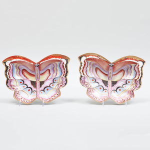 Two Similar German Porcelain Butterfly Dishes