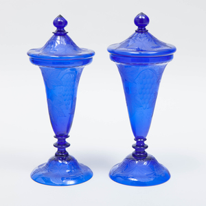 Pair of Continental Cobalt Etched Glass Vases and Covers