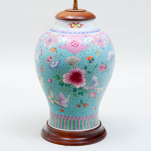 Chinese Famille Rose Jar Mounted as a Lamp