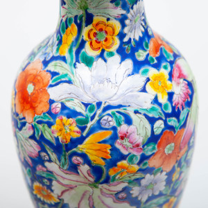 Chinese Porcelain Blue Ground Mille Fiore Vase Mounted as a Lamp
