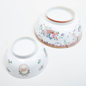 Two Chinese Export Porcelain Punch Bowls
