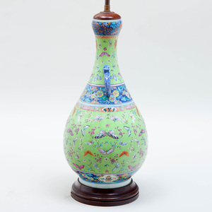 Chinese Porcelain Apple Green Ground Vase Mounted as a Lamp
