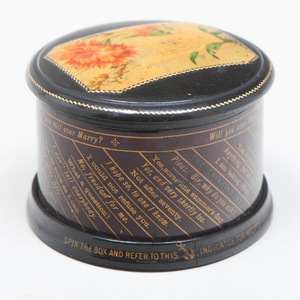 Clark & Co. Painted and Parcel-Gilt Advertising Spinning Box