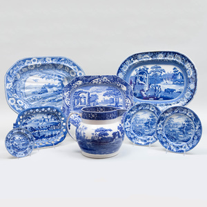 Group of English Blue and White Transfer Printed Porcelain
