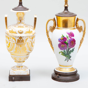 Two Paris Porcelain Vases Mounted as Lamps
