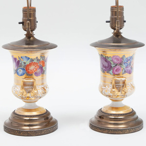 Pair of English Porcelain Urns Mounted as Lamps