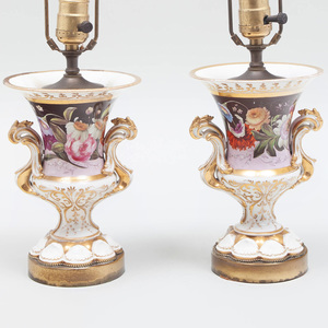 Pair of English Porcelain Vases Mounted as Lamps