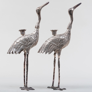 Pair of Silver Metal Crane Form Candlesticks