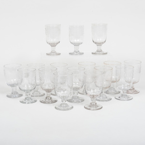 Assembled Set of Sixteen Victorian Etched Glasses