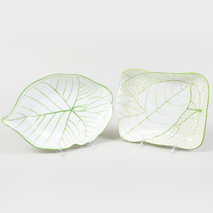 Two Wedgwood Pearlware Leaf Decorated Dishes