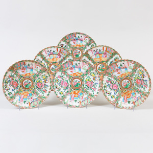 Set of Six Chinese Export Porcelain Rose Medallion Plates