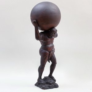 Dutch Stained Wood Figure of Atlas