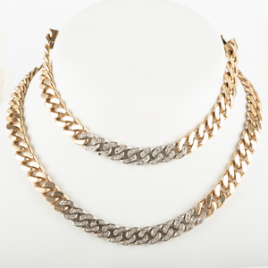 14K Gold and Diamond Necklace and Bracelet