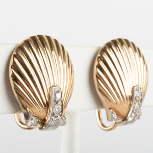 Pair of Retro 18k Gold and Diamond Shell Form Ear Clips