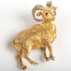 18K Yellow and White Gold Ram Brooch