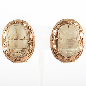 Pair of 14k Gold and Steatite Scarab Earclips