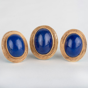 Pair of 14k Gold and Lapis Lazuli Dome Earrings and a Matching Ring