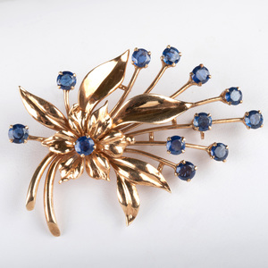 Tiffany & Co. Retro 14K Gold and Sapphire Floral Pin