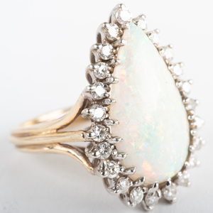 14k Yellow and White Gold, Diamond and Opal Ring