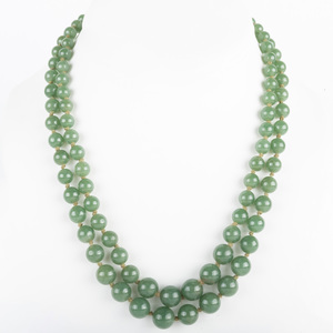Double Strand Nephrite Bead Necklace with 14k Gold and Cabochon Nephrite Clasp