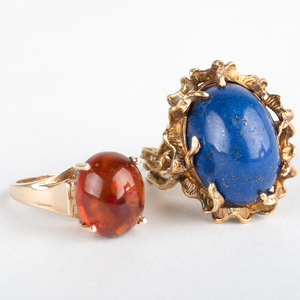 14k Gold and Lapis Lazuli Ring and a 10k Gold and Amber Ring