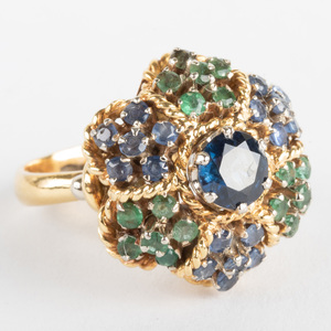 Italian 18k Gold, Emerald and Sapphire Ring