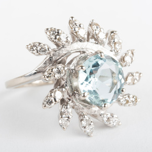 14k White Gold, Diamond and Aquamarine Ring