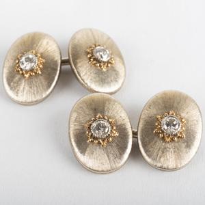 Pair of Buccellati 18k Gold and Diamond Cufflinks