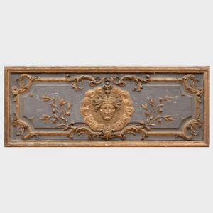 Three Painted and Parcel-Gilt Boiserie Panels