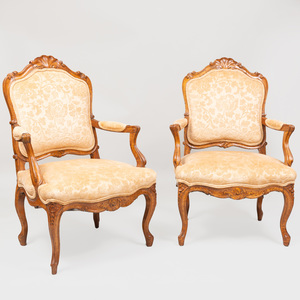 Pair of Louis XV Style Provincial Walnut Fauteuils à la Reine
