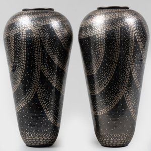 Pair of Jean Dunand Style Mixed Metal Vases