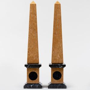 Pair of Sienna and Black Marble Obelisks