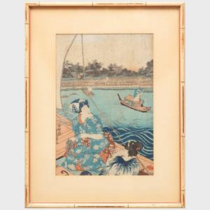 Japanese School: Figures in Landscapes, Five Works