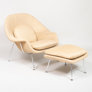 Contemporary Chrome and Wool Womb Chair and Ottoman, Designed by Eero Saarinen