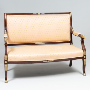 Empire Style Gilt-Bronze-Mounted Mahogany Settee