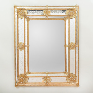 Venetian Baroque Style Amber and Etched Glass Mirror, Modern