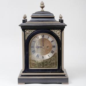 Victorian John Moore & Sons Brass Bound Ebonized Mantel Clock