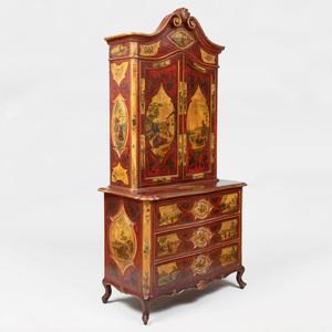 Italian Painted and Lacca Povera Bureau Cabinet