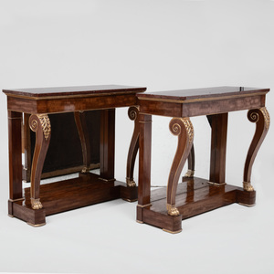 Fine Pair of Regency Mahogany and Parcel-Gilt Console Tables