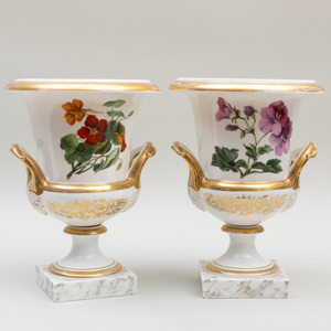 Pair of Paris Porcelain Urns Decorated with Fruits and Flowers