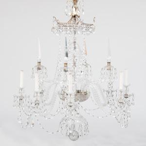 A Fine Regency Glass Eight-Light Chandelier