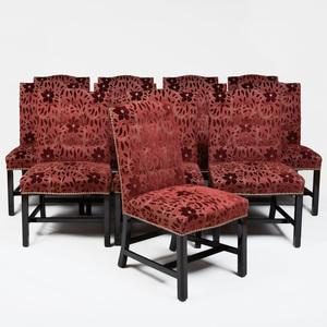 Set of Twelve George III Style Ebonized Dining Chairs